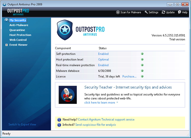 Agnitum Outpost Antivirus Pro Screenshot 1