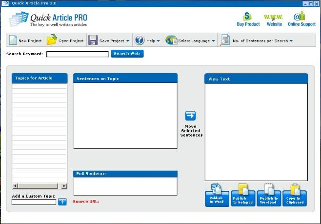Article Writing Software Screenshot