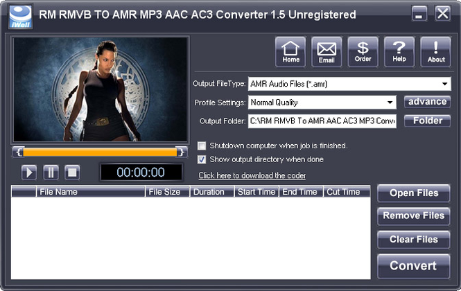 iWellsoft RM RMVB To AMR MP3 Converter Screenshot