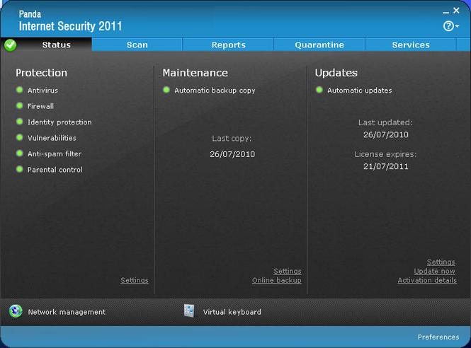 Panda Antivirus + Firewall 2008 Screenshot 3