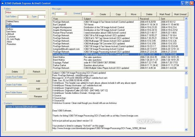 X360 Outlook Express ActiveX OCX Screenshot 2