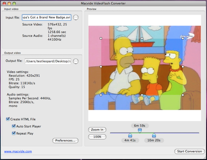 Macvide VideoFlash Converter Screenshot