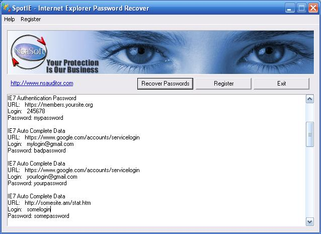 SpotIE Password Recovery Screenshot