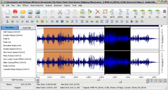 Audio Editor Deluxe 2009 Screenshot 1