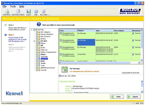 Lotus Notes to Exchange Migrator Screenshot