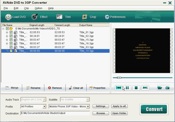 EZuse DVD To 3GP Converter Screenshot
