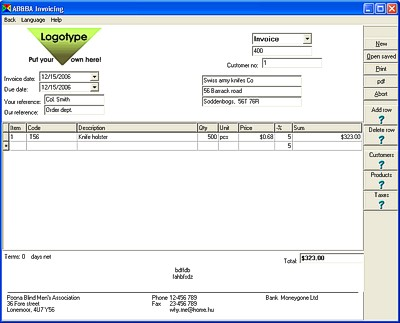 AB Invoicing Screenshot