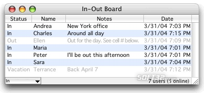 In-Out Board Mac Screenshot 2