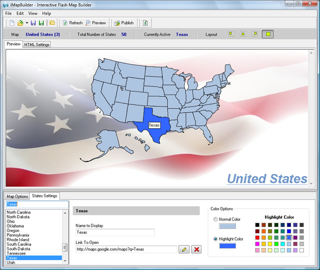 iMapBuilder Interactive Flash MapBuilder Screenshot
