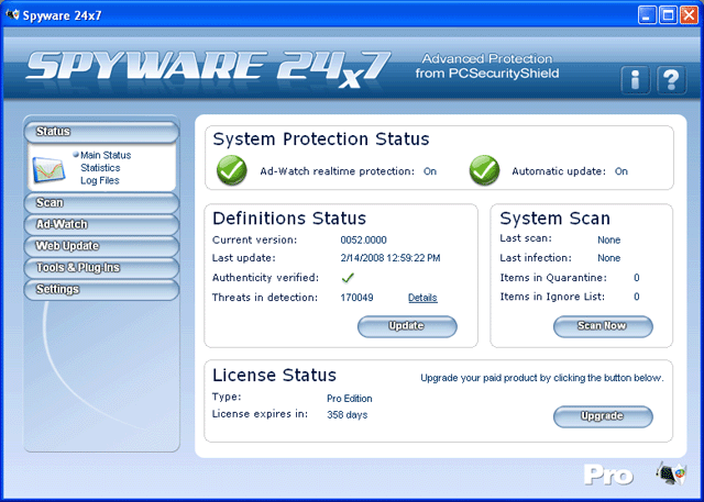 Spyware 24x7 Screenshot