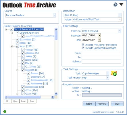 Outlook True Archive Screenshot