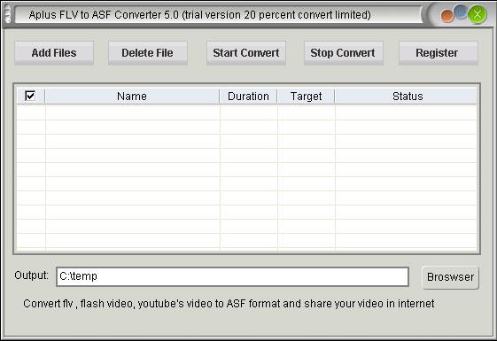 Aplus FLV to ASF Converter Screenshot 1
