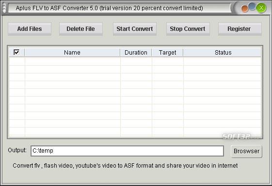 Aplus FLV to ASF Converter Screenshot 2