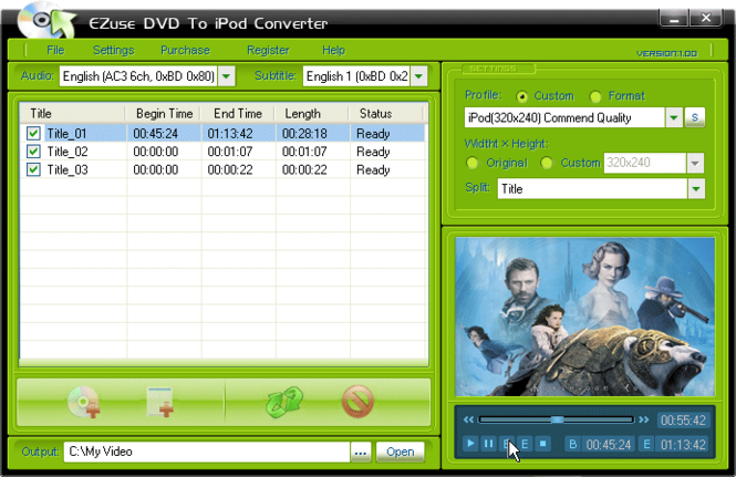 EZuse DVD To iPod Converter Screenshot 1