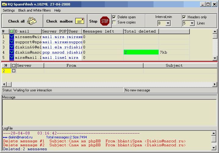 RQ SpamFinish Screenshot 3