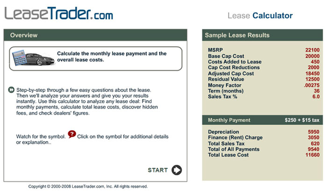 Car Lease Calculator Screenshot