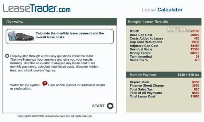 Car Lease Calculator Screenshot 2