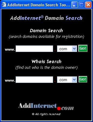 AddInternet Domain Search Screenshot 1