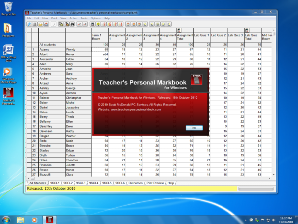 Teachers Personal Markbook Screenshot
