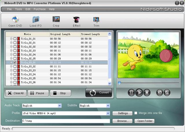 Nidesoft DVD to MP4 Converter Platinum Screenshot