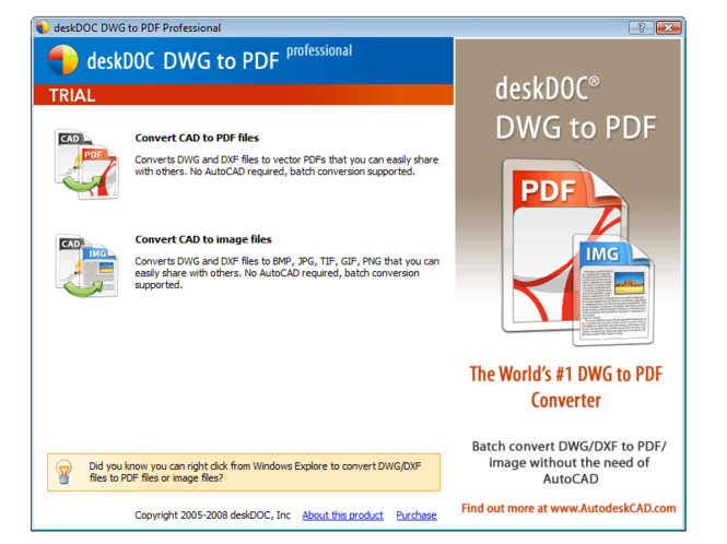 deskDOC DWG to PDF Professional 2009 Screenshot 3