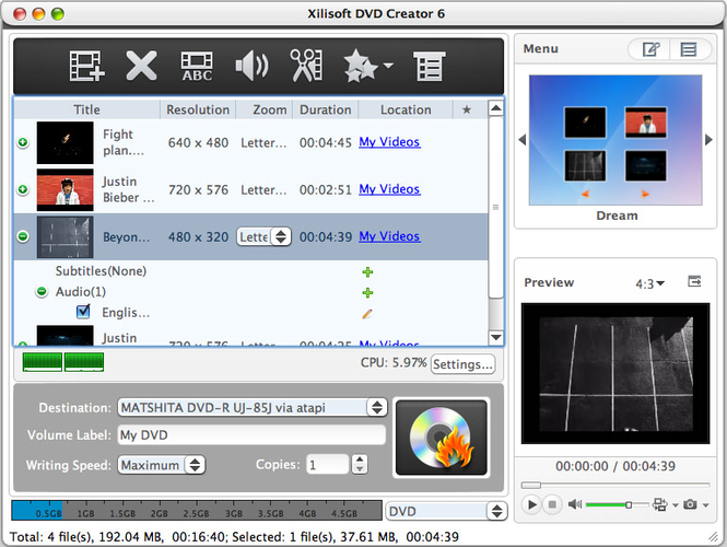 Xilisoft DVD Creator for Mac Screenshot