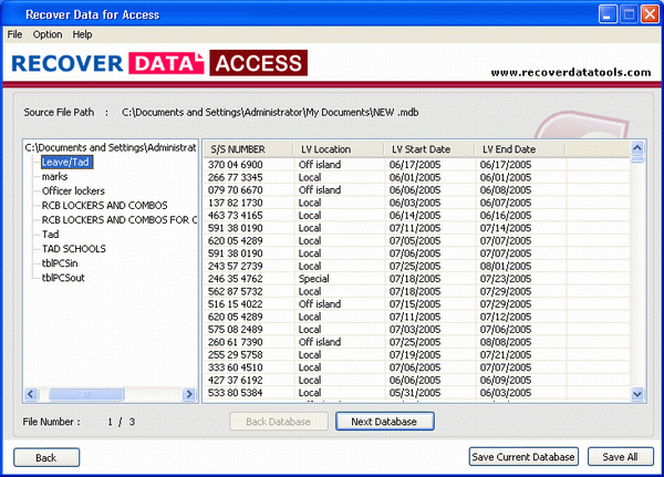 Access File Recovery Software Screenshot 3