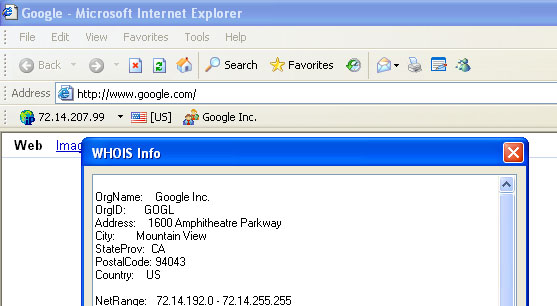 WHOIS Toolbar for Internet Explorer Screenshot