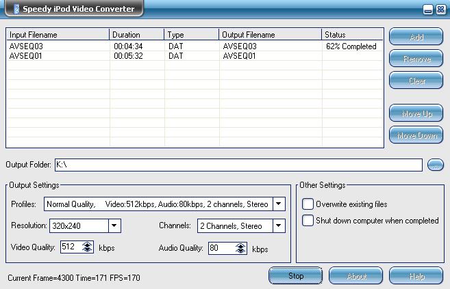 Speedy iPod Video Converter Screenshot 1