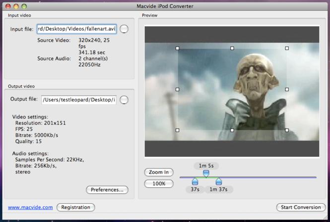 Macvide iPod Converter Screenshot