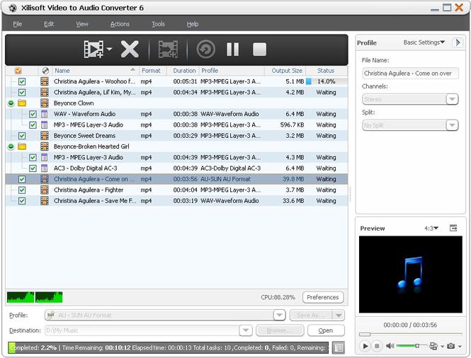 Xilisoft Video to Audio Converter Screenshot 1