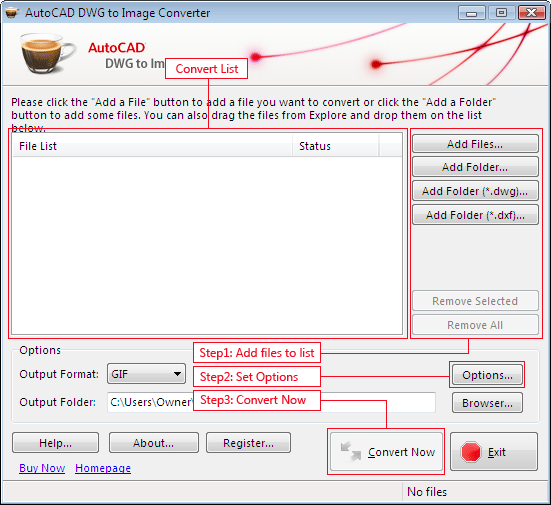 AutoCAD DWG to Image Converter 2009 Screenshot