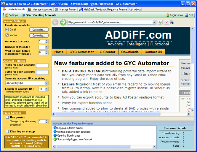 GYC Automator Screenshot