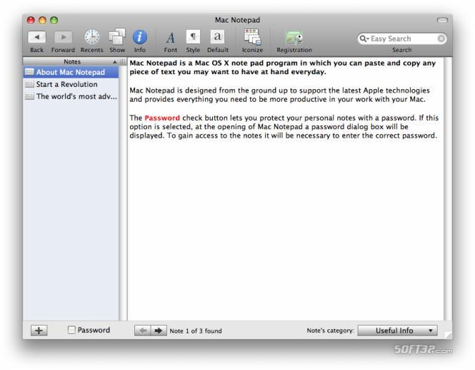 Mac Notepad Screenshot