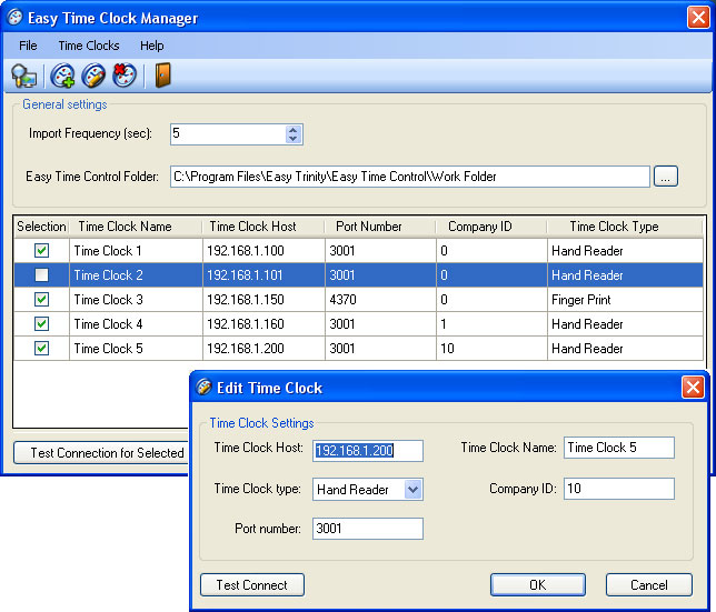 Easy Time Clock Driver Screenshot