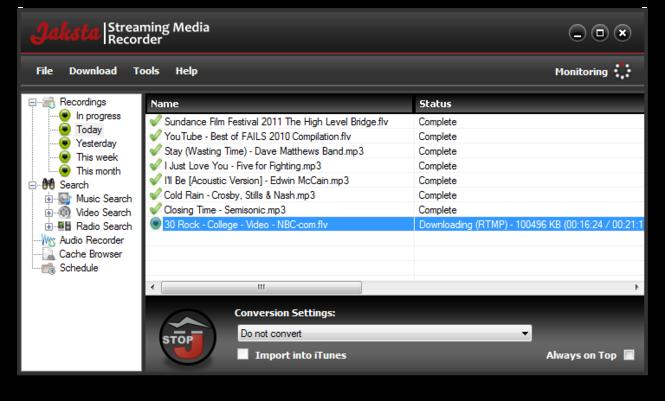 Jaksta Streaming Media Recorder and Converter Screenshot