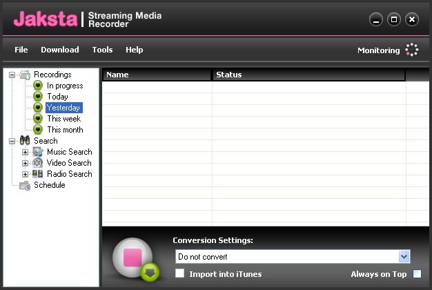 Jaksta Streaming Media Recorder and Converter Screenshot 3