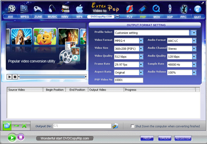 Extra Video to PSP Converter Screenshot
