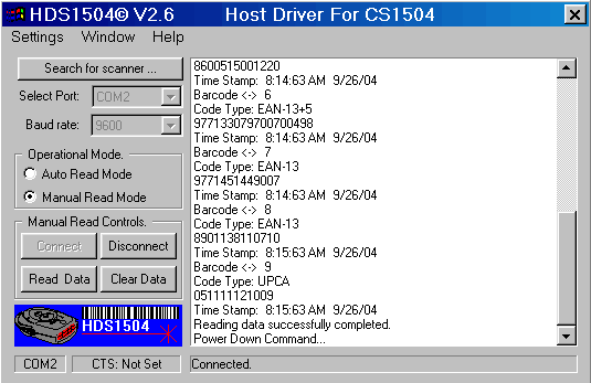 HDS1504 Software For Symbol CS1504 Screenshot 1