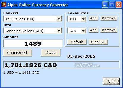 Alpha Online Currency Converter Screenshot