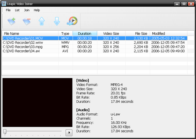 Leapic Video Joiner Screenshot