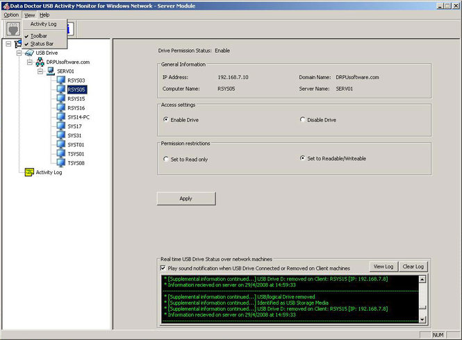 USB Data Leakage Protection Software Screenshot