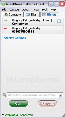 Mizu SoftPhone Screenshot 1