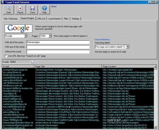 Target Email Extractor Screenshot
