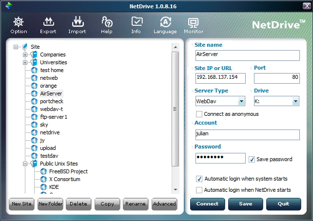 NetDrive Screenshot
