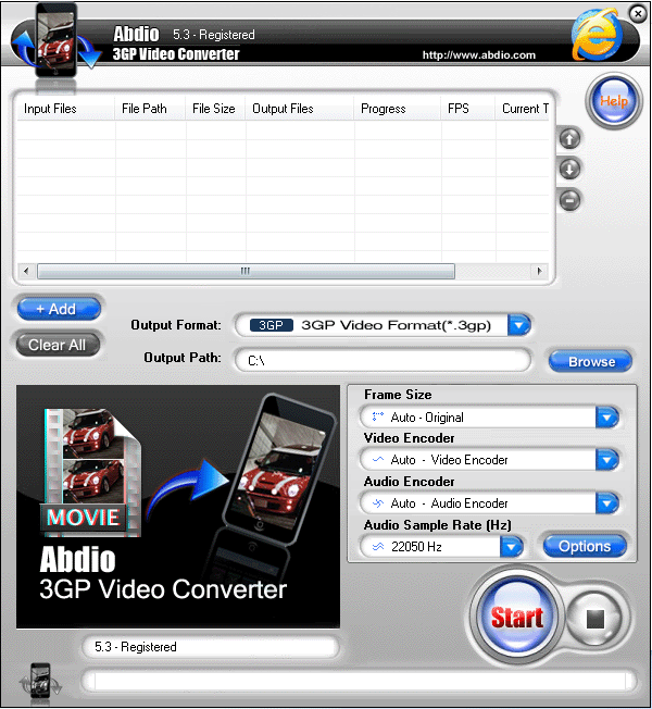 Abdio 3GP Video Converter Screenshot 1