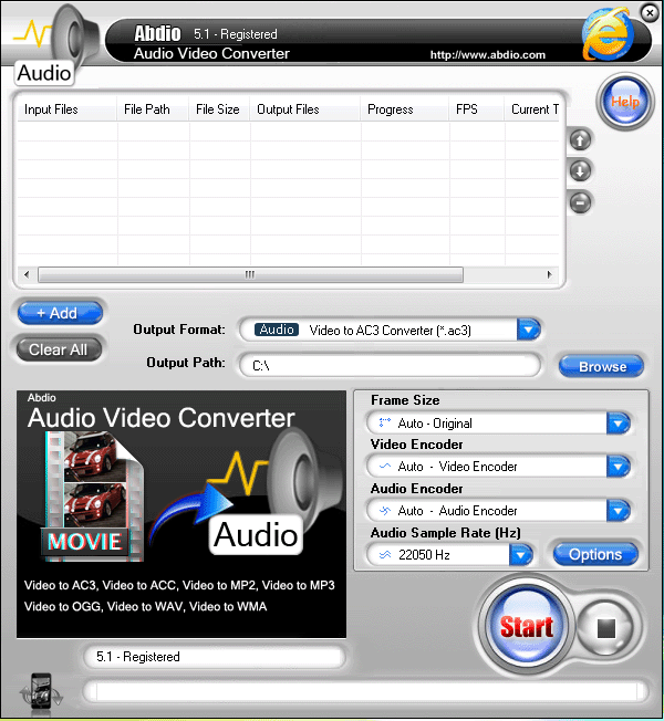 Abdio Audio Video Converter Screenshot