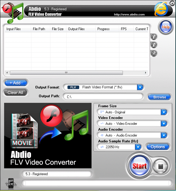 Abdio FLV Video Converter Screenshot 1