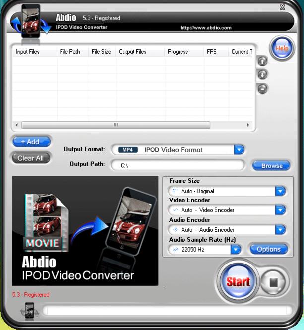 Abdio IPOD Video Converter Screenshot 1