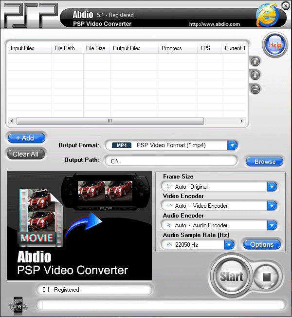 Abdio PSP Video Converter Screenshot 1